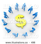 Royalty Free Stock Illustration of a Group of Blue Businesspeople Carrying Briefcases Standing in a Circle Around a Dollar Sign by 3poD