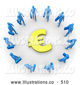 Royalty Free Stock Illustration of a Group of Blue Businesspeople Carrying Briefcases Standing in a Circle Around a Euro Sign by 3poD