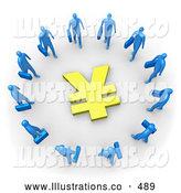 Royalty Free Stock Illustration of a Group of Blue Businesspeople Carrying Briefcases Standing in a Circle Around a Yen Sign by 3poD
