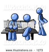 Royalty Free Stock Illustration of a Group of Blue Men at a Bench at a Bus Stop by Leo Blanchette
