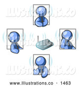 Royalty Free Stock Illustration of a Group of Blue Men Holding a Phone Meeting and Wearing Wireless Headsets by Leo Blanchette