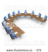 Royalty Free Stock Illustration of a Group of Blue Men Seated and Holding a Meeting at a Large U Shaped Conference Table by 3poD