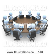Royalty Free Stock Illustration of a Group of Blue Men, Students or Employees During a Training Class, Using Laptop Computers to View Charts and Graphs While Seated Around a Conference Table by 3poD