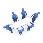 Royalty Free Stock Illustration of a Group of Blue Men Working Together to Lift a Blank White Sign Which Is Ready for an Advertisement by 3poD