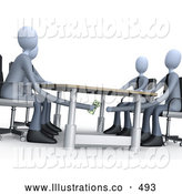 Royalty Free Stock Illustration of a Group of Businessman Paying or Bribing Another Under the Table During a Business Meeting by 3poD