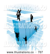 Royalty Free Stock Illustration of a Group of Businessmen Climbing Blue Bars to Reach the Top Where a Proud Business Man Stands by AtStockIllustration