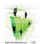 Royalty Free Stock Illustration of a Group of Businessmen Climbing Green Bars to Reach the Top Where a Proud Business Man Stands by AtStockIllustration