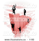 Royalty Free Stock Illustration of a Group of Businessmen Climbing Red Bars to Reach the Top Where a Proud Business Man Stands by AtStockIllustration