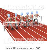 Royalty Free Stock Illustration of a Group of Businessmen in Matching Uniforms, Running a Marathon on a Race Track and Completing a Race at the Same Time by 3poD