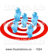 Royalty Free Stock Illustration of a Group of Five Blue Men Standing on a Red and Whit by AtStockIllustration
