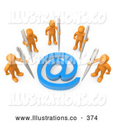 Royalty Free Stock Illustration of a Group of Five Orange People Holding Large Pens, Surrounding a Blue at Symbol by 3poD