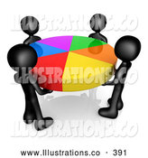 November 11th, 2013: Royalty Free Stock Illustration of a Group of Four Black People Holding a Bright Colorful Pie Chart by 3poD