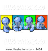 Royalty Free Stock Illustration of a Group of Four Blue Men in Different Poses Against Colorful Backgrounds, Perhaps During a Meeting by Leo Blanchette