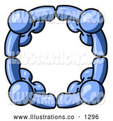 Royalty Free Stock Illustration of a Group of Four Blue People Standing in a Circle and Holding Hands for Teamwork and Unity by Leo Blanchette