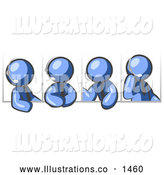 Royalty Free Stock Illustration of a Group of Four Different Blue Men Wearing Headsets and Having a Discussion During a Phone Meeting by Leo Blanchette