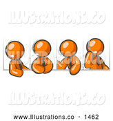 Royalty Free Stock Illustration of a Group of Four Different Orange Men Wearing Headsets and Having a Discussion During a Phone Meeting by Leo Blanchette