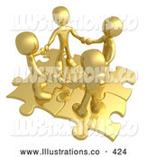 November 7th, 2013: Royalty Free Stock Illustration of a Group of Four Gold People Holding Hands While Standing on Connected Gold Puzzle Pieces, Symbolizing Teamwork, and Interlinking for Seo Website Marketing by 3poD