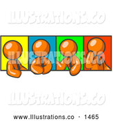 Royalty Free Stock Illustration of a Group of Four Orange Men in Different Poses Against Colorful Backgrounds, Perhaps During a Meeting by Leo Blanchette