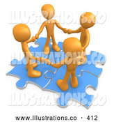 Royalty Free Stock Illustration of a Group of Four Orange People Holding Hands While Standing on Connected Blue Puzzle Pieces, Symbolizing Teamwork, and Interlinking for Seo Website Marketing by 3poD