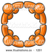 Royalty Free Stock Illustration of a Group of Four Orange People Standing in a Circle and Holding Hands for Teamwork and Unity by Leo Blanchette