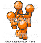 Royalty Free Stock Illustration of a Group of Friendly Orange Businessmen Going in Together on a Deal by Leo Blanchette