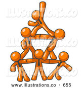 Royalty Free Stock Illustration of a Group of Friendly Orange Businessmen Piling up to Form a Pyramid by Leo Blanchette