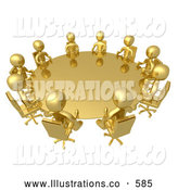 Royalty Free Stock Illustration of a Group of Gold Men Seated and Holding a Meeting at a Round Golden Conference Table by 3poD