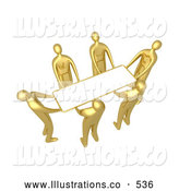 Royalty Free Stock Illustration of a Group of Gold Men Working Together to Lift a Blank White Sign Which Is Ready for an Advertisement by 3poD