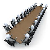 Royalty Free Stock Illustration of a Group of Grey Men Holding a Meeting Around a Large Rectangular Conference Table in an Office by 3poD