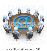 Royalty Free Stock Illustration of a Group of Light Blue Men Holding a Meeting About Communicationas at a Large Conference Table with a Blue at Symbol in an Office by 3poD