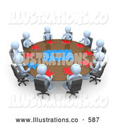 Royalty Free Stock Illustration of a Group of Light Blue Men Holding a Meeting and Trying to Solve a Jigsaw Around a Large Rectangular Conference Table in an Office by 3poD