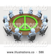 Royalty Free Stock Illustration of a Group of Light Blue Men Holding a Meeting at a Large Rectangular Conference Table with a Green Peace Symbol on It in an Office by 3poD