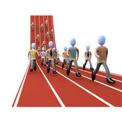 Royalty Free Stock Illustration of a Group of Men Running on a Track While Racing for a Job Opportunity by 3poD