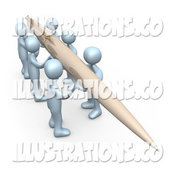 Royalty Free Stock Illustration of a Group of Men Working Together to Hold a Giant Pen to Compose a Newsletter or Article by 3poD