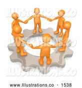 Royalty Free Stock Illustration of a Group of Orange Business Colleagues Holding Hands and Standing in a Circle on a Cog Gear, Symbolizing Teamwork and Support and Shared Responsibility by 3poD
