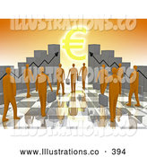 November 11th, 2013: Royalty Free Stock Illustration of a Group of Orange Business People Carrying Briefcases Towards an Entrance Framed by Bar Graph Charts with a Euro Symbol Shining like the Sun by 3poD
