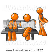 Royalty Free Stock Illustration of a Group of Orange Men at a Bench at a Bus Stop by Leo Blanchette