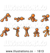 Royalty Free Stock Illustration of a Group of Orange Men Doing Different Exercises and Stretches in a Fitness Gym by Leo Blanchette