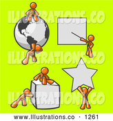 Royalty Free Stock Illustration of a Group of Orange Men with a Globe, Presentation Board, Cube and Star by Leo Blanchette