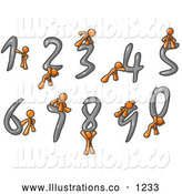Royalty Free Stock Illustration of a Group of Orange Men with Numbers 0 Through 9 by Leo Blanchette