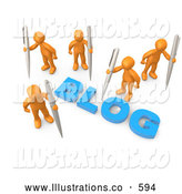 "Royalty Free Stock Illustration of a Group of Orange People Surrounding the Blue Word ""Blog"" and Holding Large Pens by 3poD"