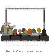 Royalty Free Stock Illustration of a Group of People Watching Businessman Manager Give His Presentation by Djart