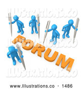 November 13th, 2013: Royalty Free Stock Illustration of a Group of Professional Blue People Holding Their Own Pens, Writing in a Group Forum by 3poD