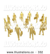 Royalty Free Stock Illustration of a Group of Shiny Gold Businessmen Standing in a Circle Around a Chair, Symbolizing Job Opportunities and Advancement by 3poD