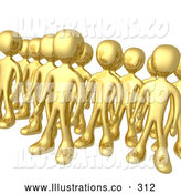 Royalty Free Stock Illustration of a Group of Shiny Gold Men Standing Proud in Rows by 3poD