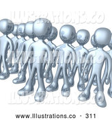 Royalty Free Stock Illustration of a Group of Shiny Silver Men Standing Proud in Rows by 3poD