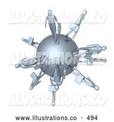 Royalty Free Stock Illustration of a Group of Silver Business People Carrying Briefcases and Walking on the Planet Earth, Symbolizing Travel or Worldwide Business by 3poD