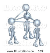 Royalty Free Stock Illustration of a Group of Silver Business People Connected by Atoms, Symbolizing Teamwork, Brainstorming, Creativity and Ideas by 3poD