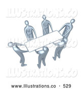 Royalty Free Stock Illustration of a Group of Silver Men Working Together to Lift a Blank White Sign Which Is Ready for an Advertisement by 3poD