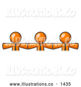 Royalty Free Stock Illustration of a Group of Three Orange Businessmen Wearing Ties, Standing Arm to Arm, Symbolizing Team Work, Support, Interlinking, Interventions, Etc by Leo Blanchette